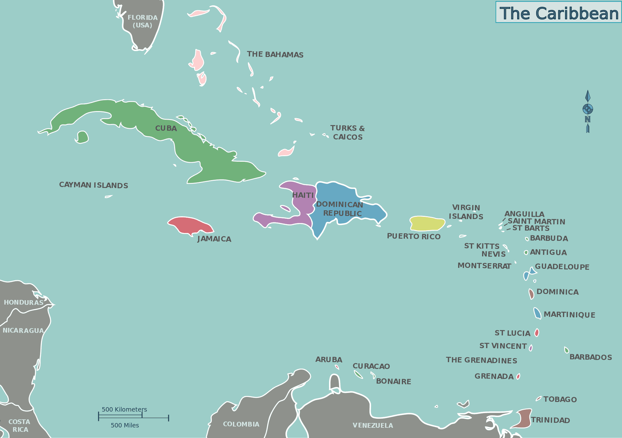 How many Caribbean islands can you place Key Caribe