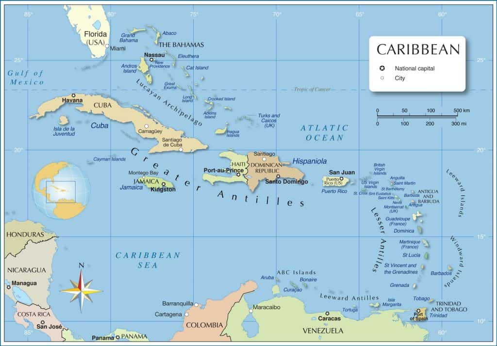 The Political map of the Caribbean