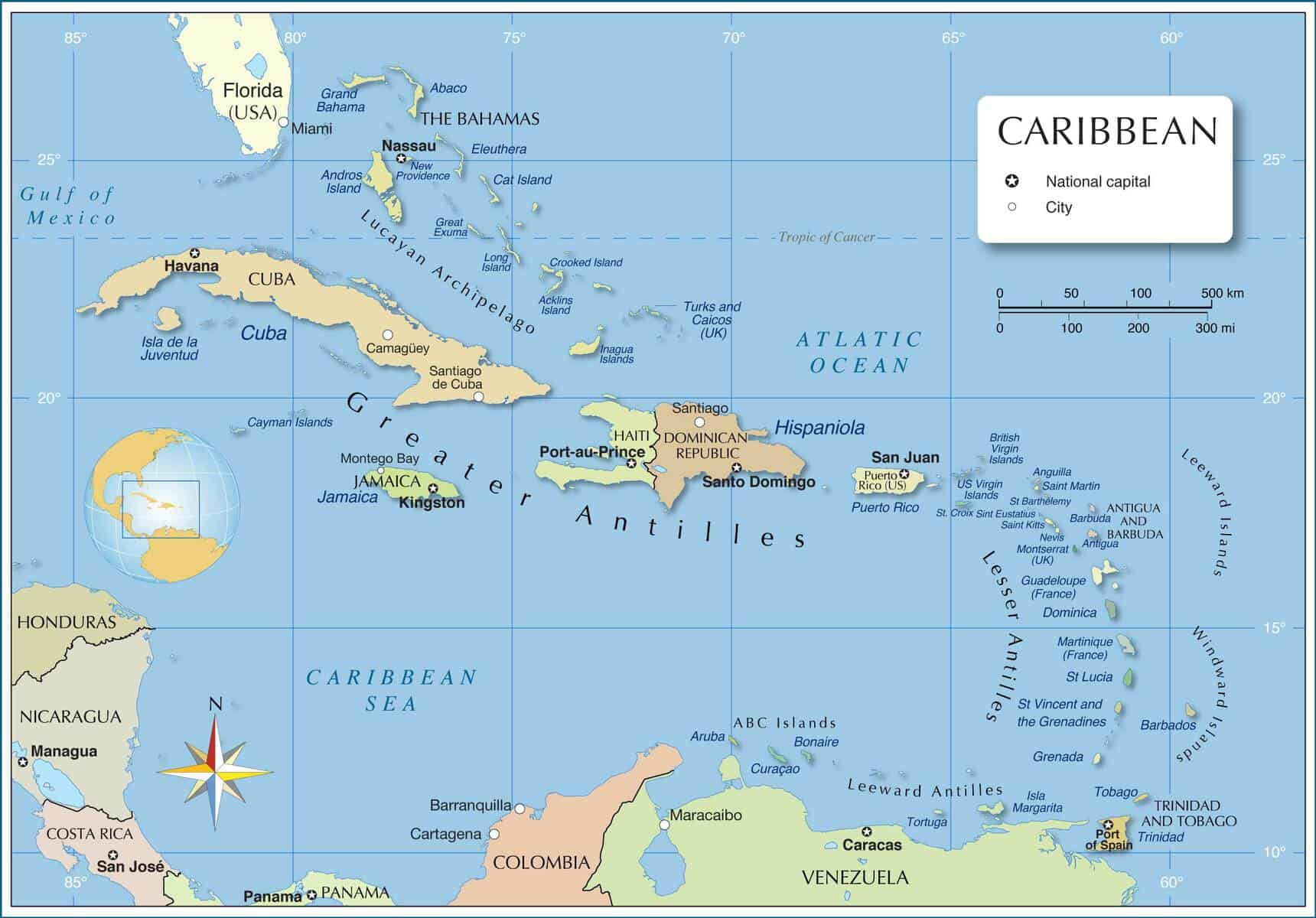 The Political map of the Caribbean   Key Caribe