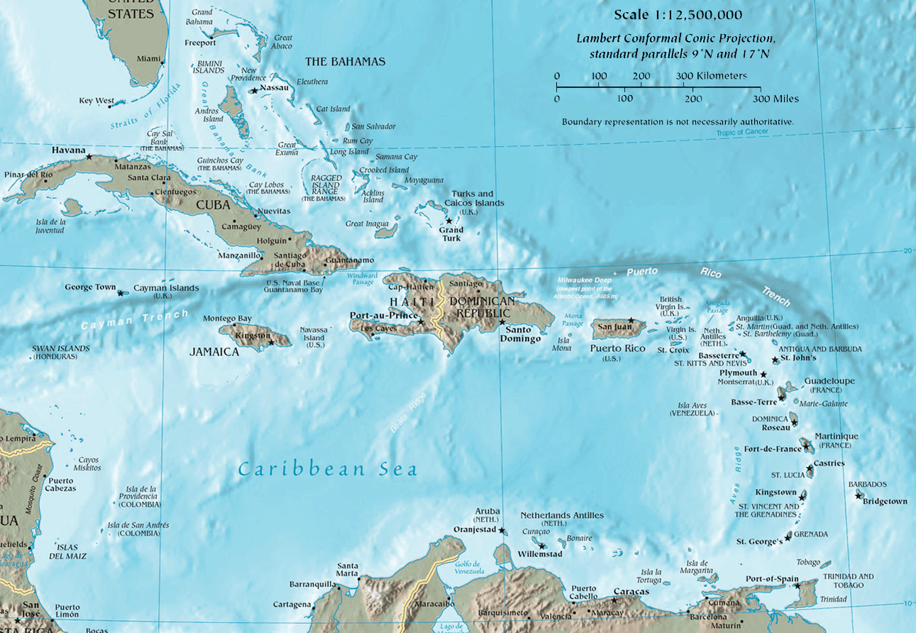 The Political map of the Caribbean - Key Caribe