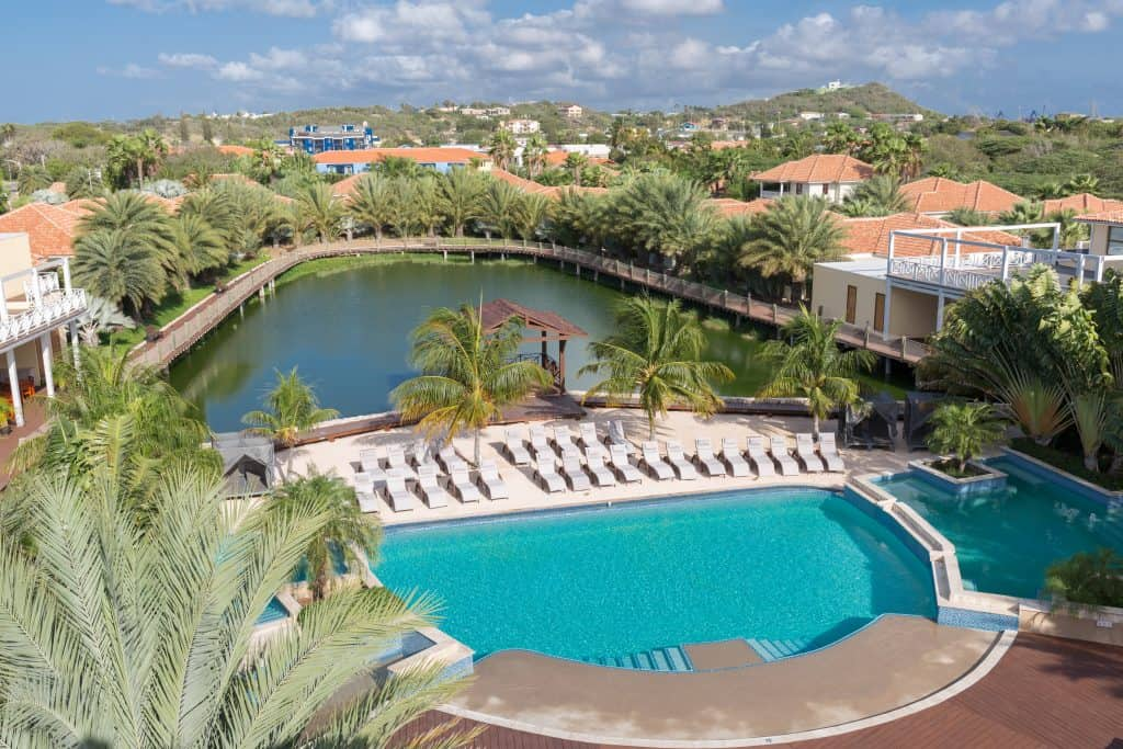 Aerial view lake & pool Acoya Curacao
