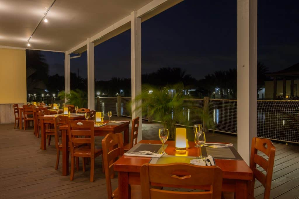 Lake side Grill night view Acoya Curacao