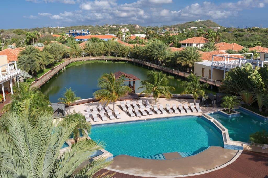 Aerial view lake & pool Acoya Curacao
