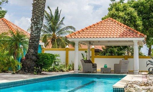 pool with a gazebo