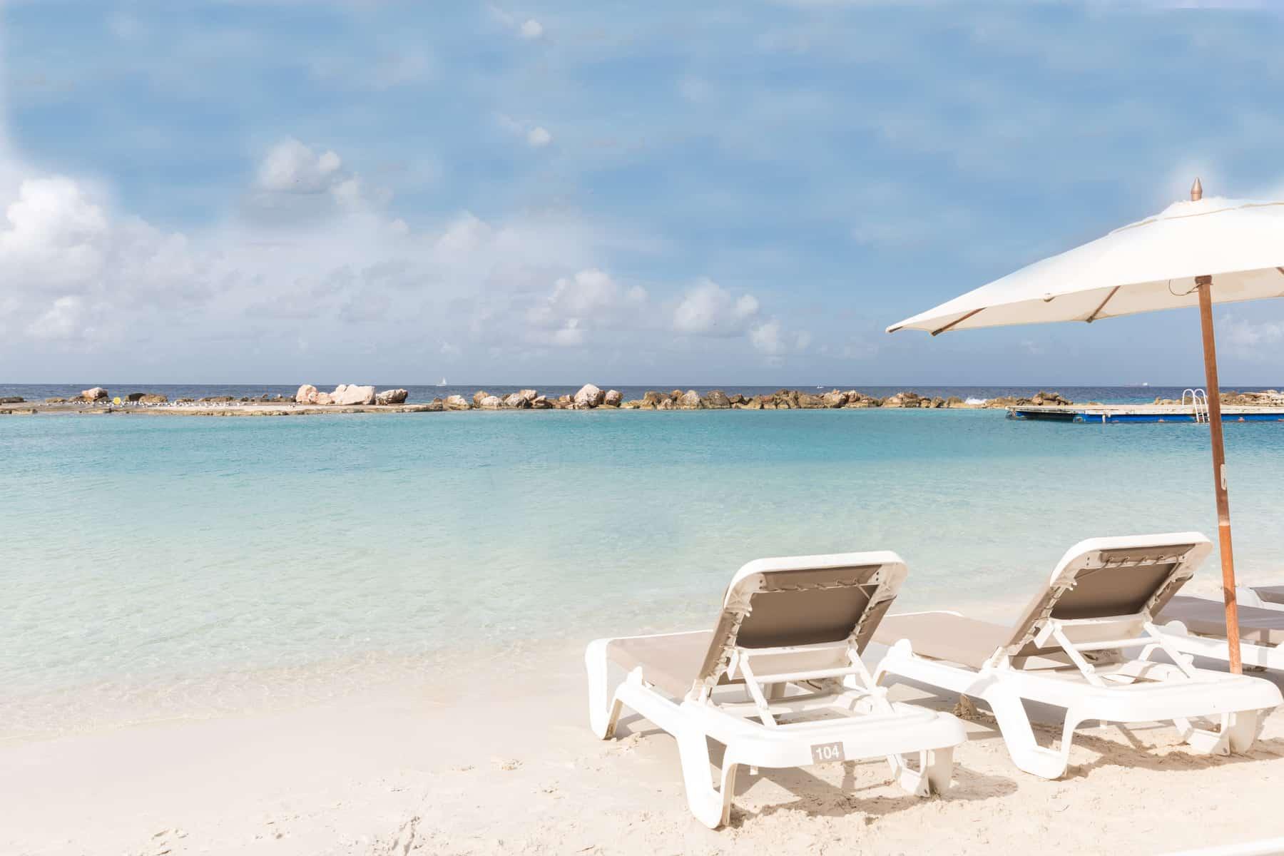 Mambo Beach with chairs Acoya Curacao