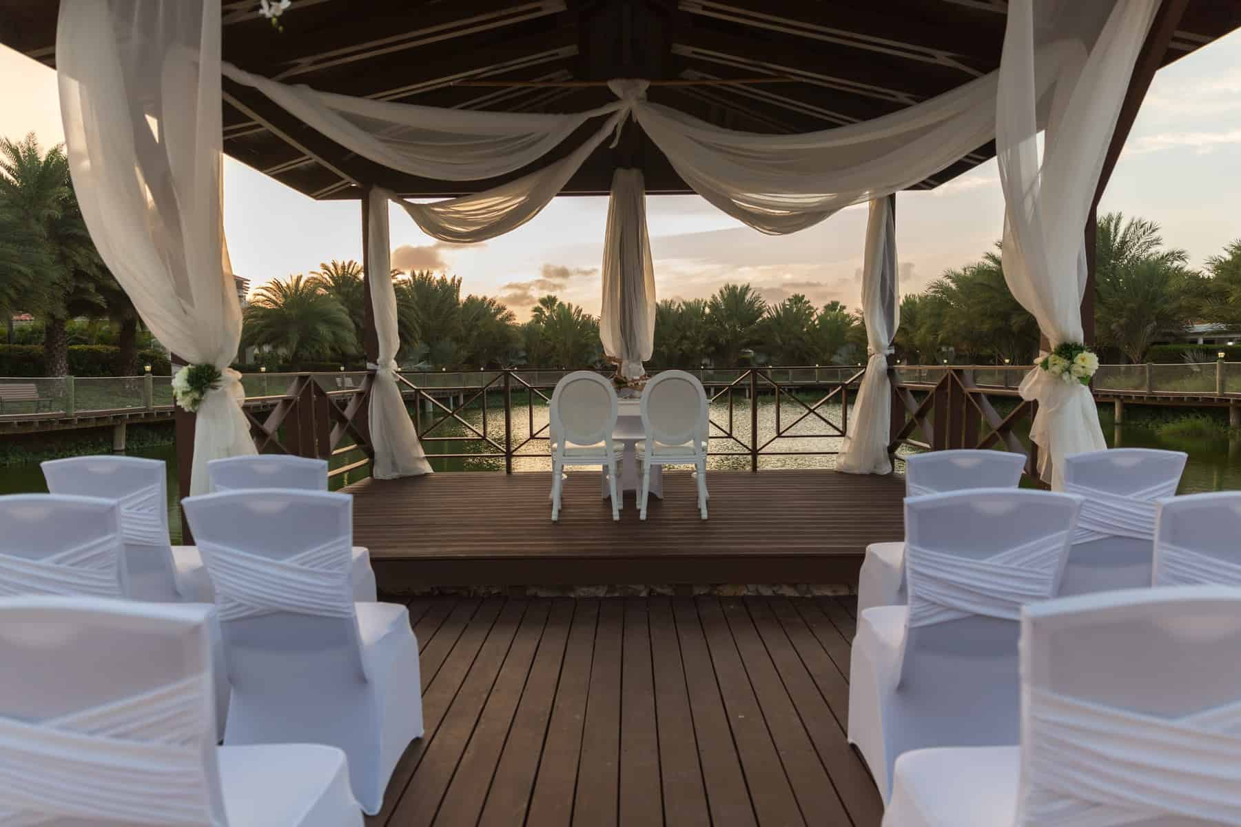Wedding setup at sunset Acoya Curacao