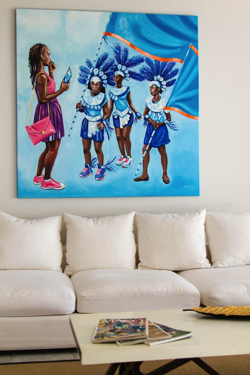 couch with a painting of children