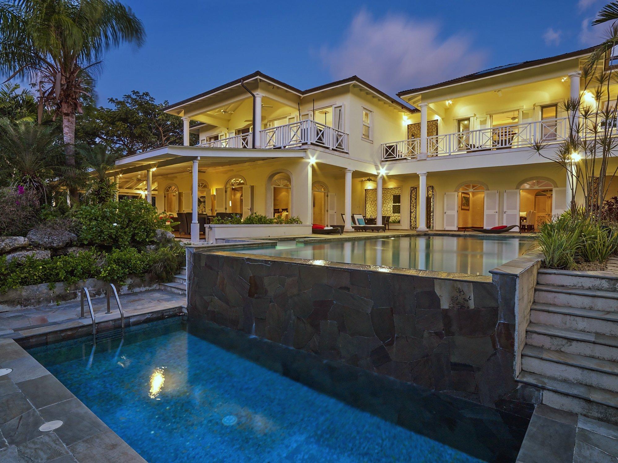 Pool at night Westland Heights Barbados