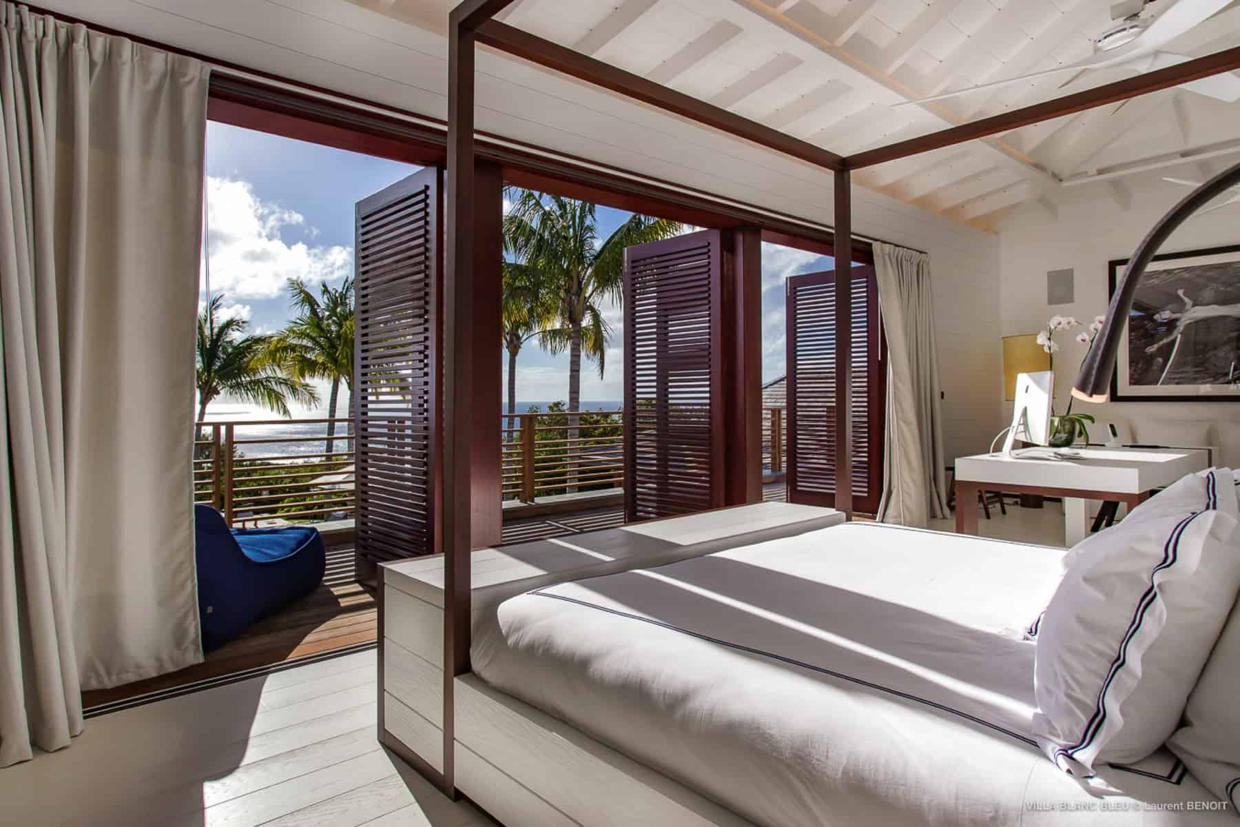 Bedroom with view Villa Blanc Bleu St Barths