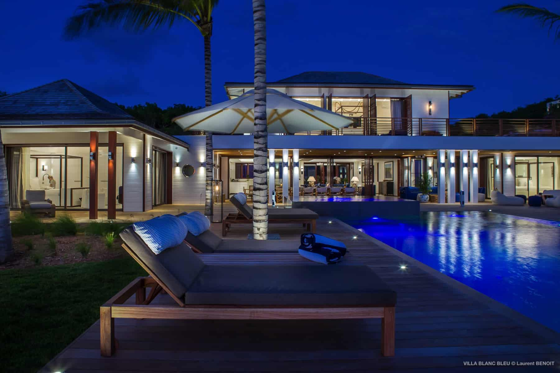 Pool at Night Villa Blanc Blue St Barths