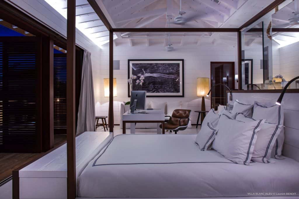 Bedroom at night Villa Blanc Bleu St Barths