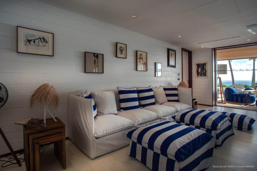Living room Villa Blanc Bleu St Barths