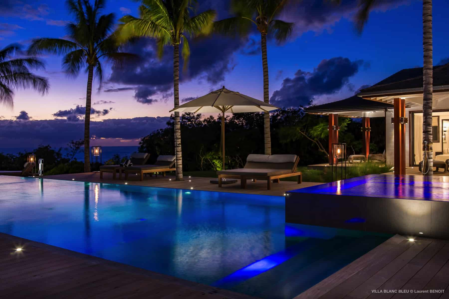 Pool deck at night Villa Blanc Blue St Barths