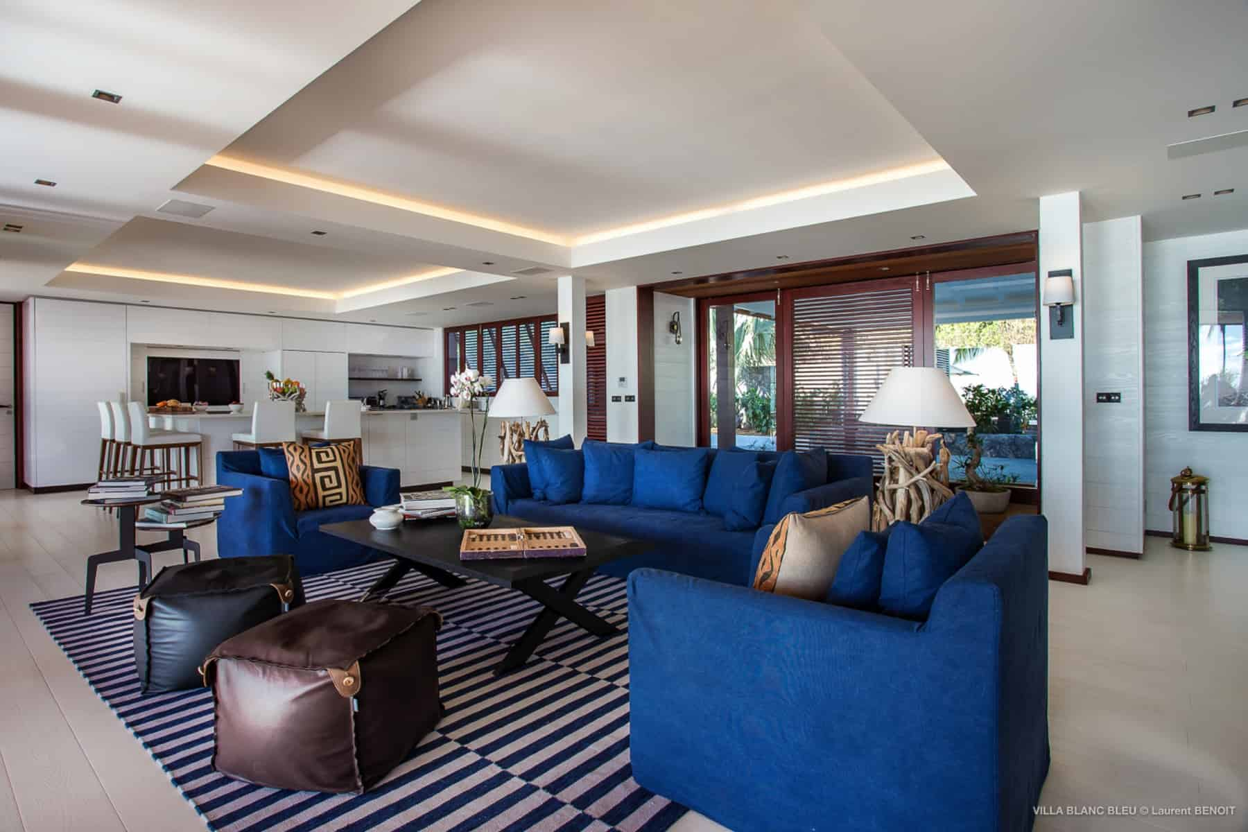 living area Villa Blanc Bleu St Barths