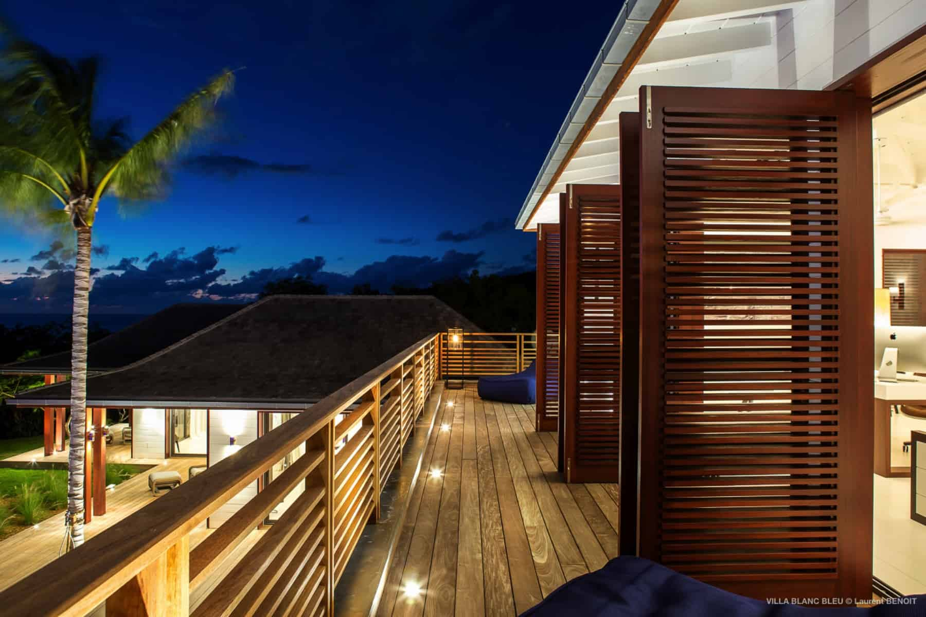 Balcony at night Villa Blanc Bleu St Barths